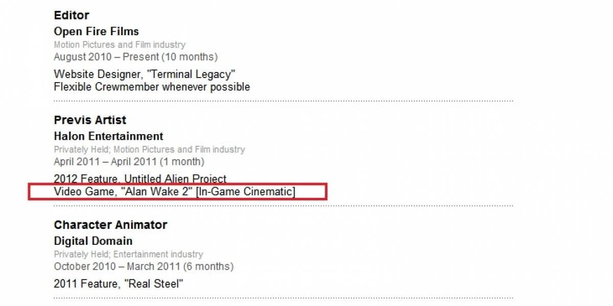 Alan Wake 2 aparece listado en un perfil de LinkedIn