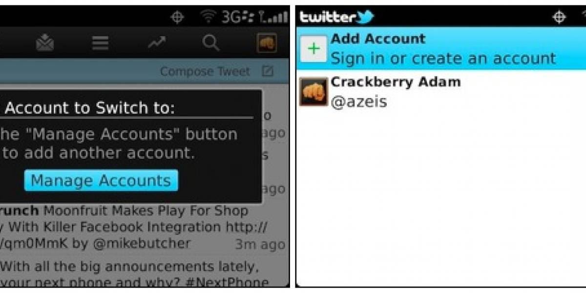 Twitter para BlackBerry ahora soporta múltiples cuentas