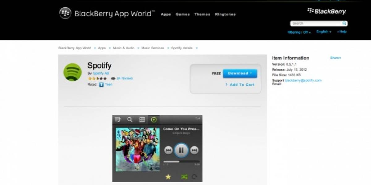 Spotify app llega a BlackBerry en 15 países