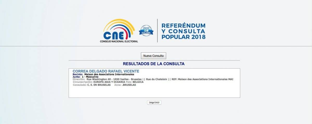 Correa lugar de votación