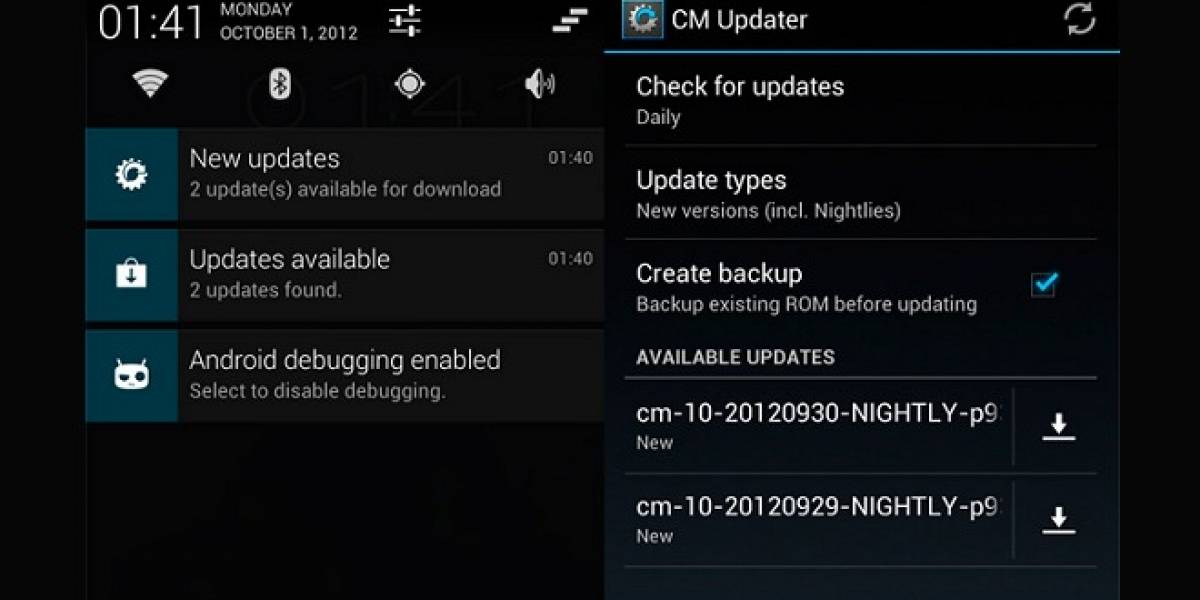 CyanogenMod 10 agrega actualizaciones OTA con CM Updater