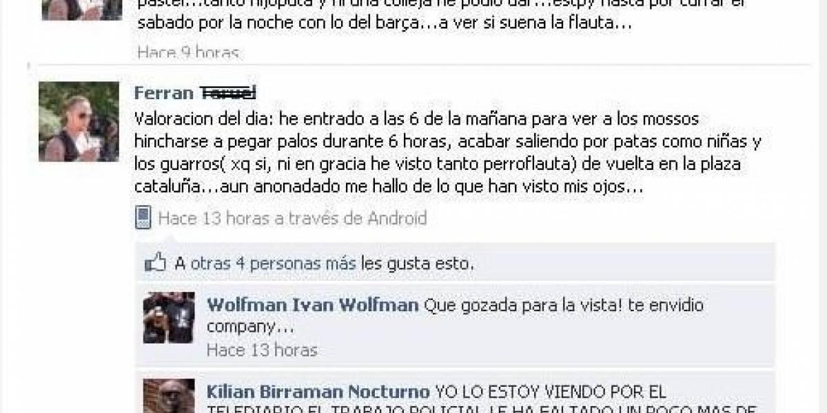España: Abren expediente a un policía por alentar a la violencia en Facebook