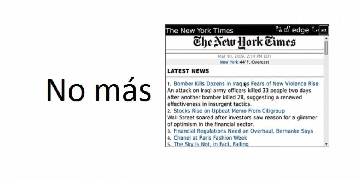El New York Times abandona su app para BlackBerry