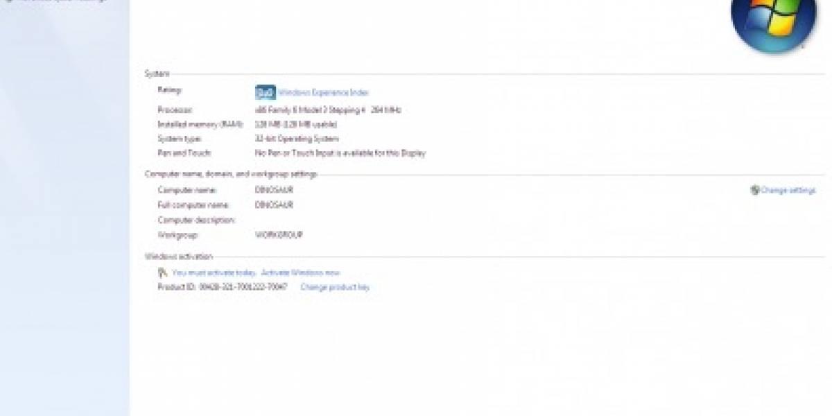 Meten Windows 7 en un Pentium II
