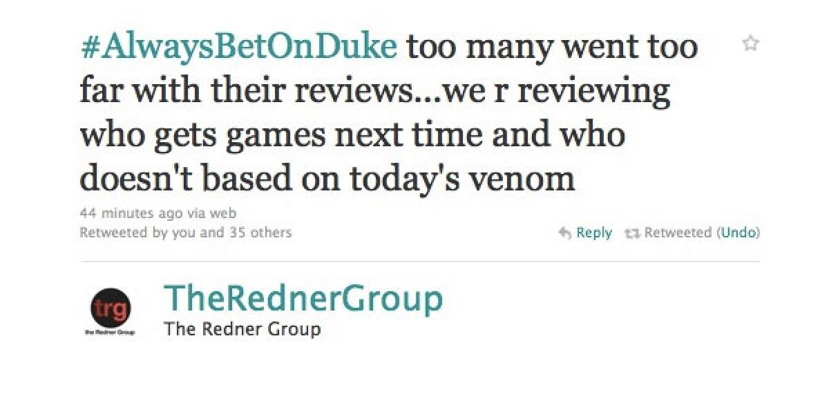 Agencia de RP se molesta por las reseñas negativas de Duke Nukem Forever