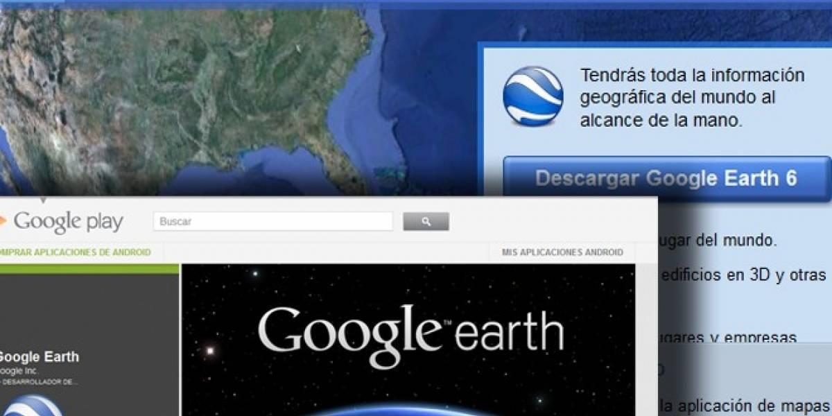 Google Earth se actualiza para Android y echa un cable a su red social Google+