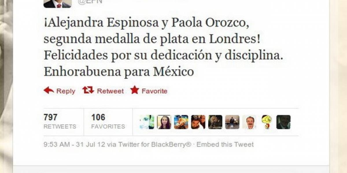 México: Peña Nieto twittea mal el nombre de clavadistas ganadoras de la plata en Londres 2012
