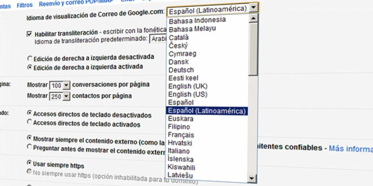 Gmail ahora está en español de Latinoamérica