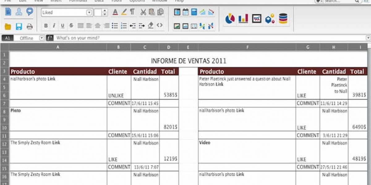Facebook para el trabajo, disfrazado de planilla Excel