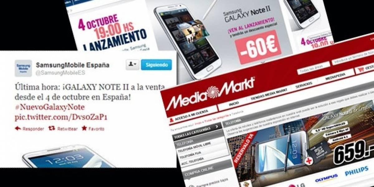 Galaxy Note II aterrizará en España este 4 de octubre