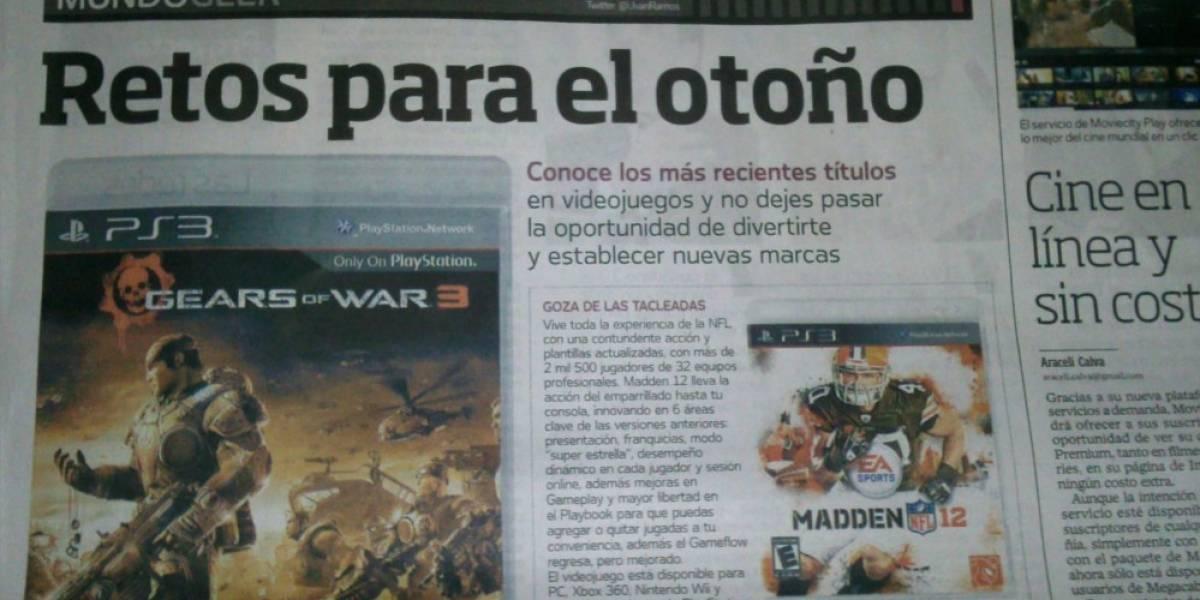 Periódico El Universal comete error con Gears of War 3