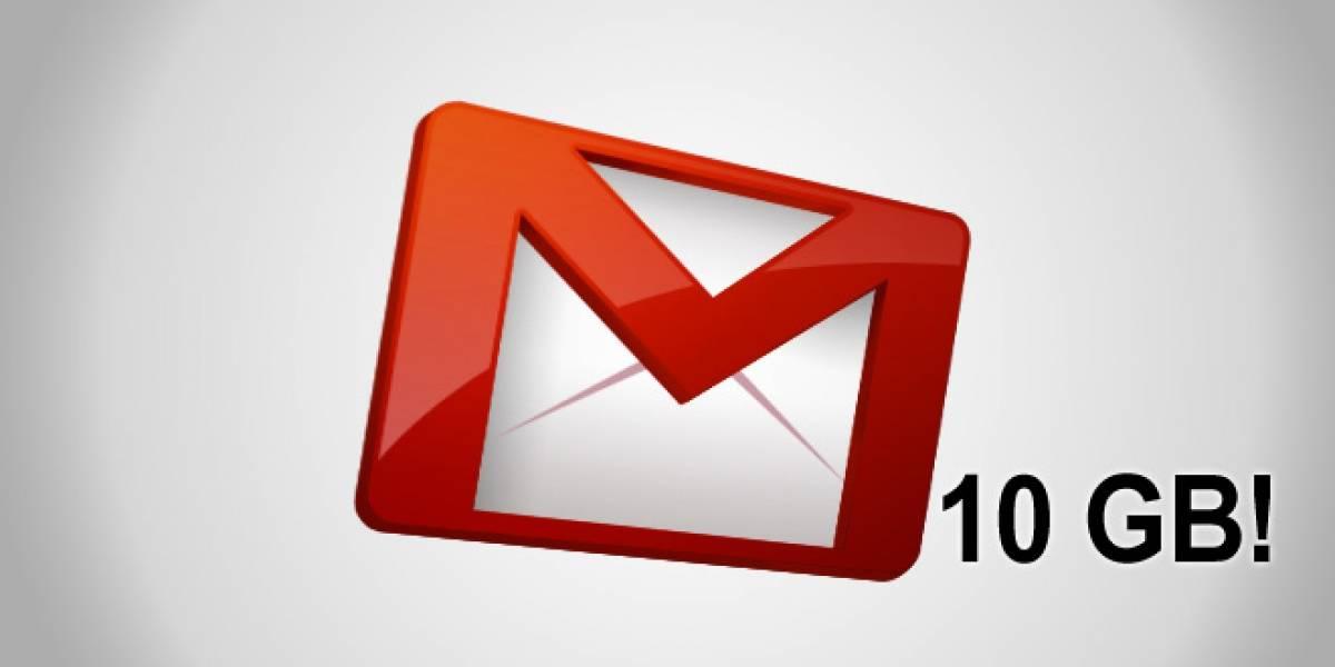 Gmail sube su cuota de almacenamiento a 10 GB