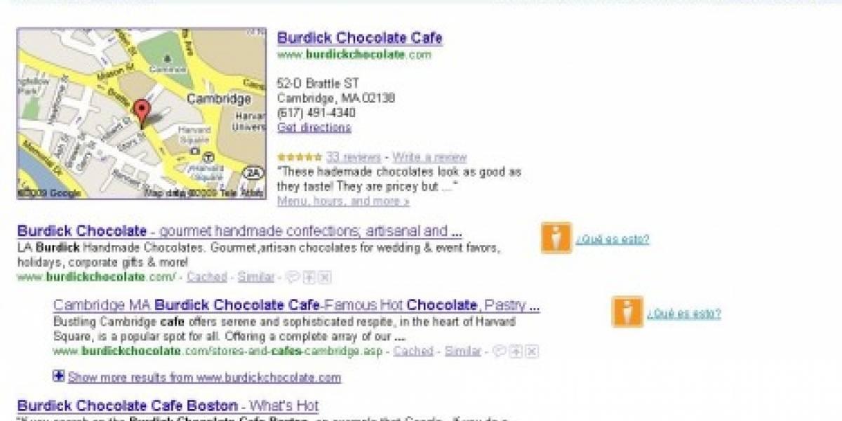 Google Places corre todos los resultados un puesto más abajo