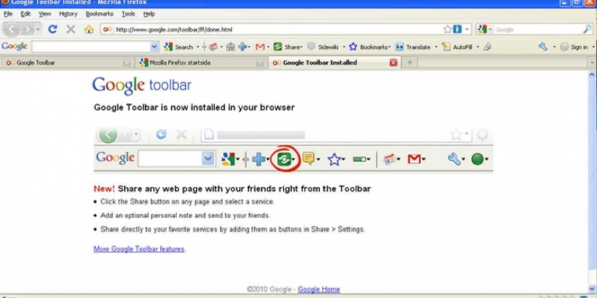 Google elimina su barra de herramientas para Firefox