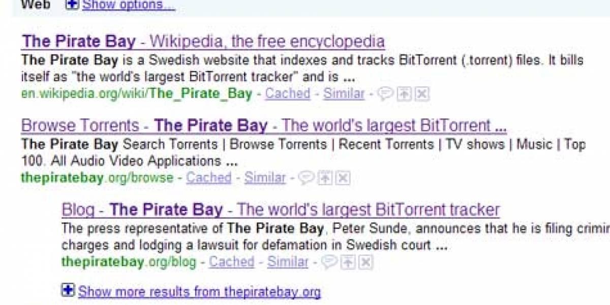 Google manda The Pirate Bay al infierno