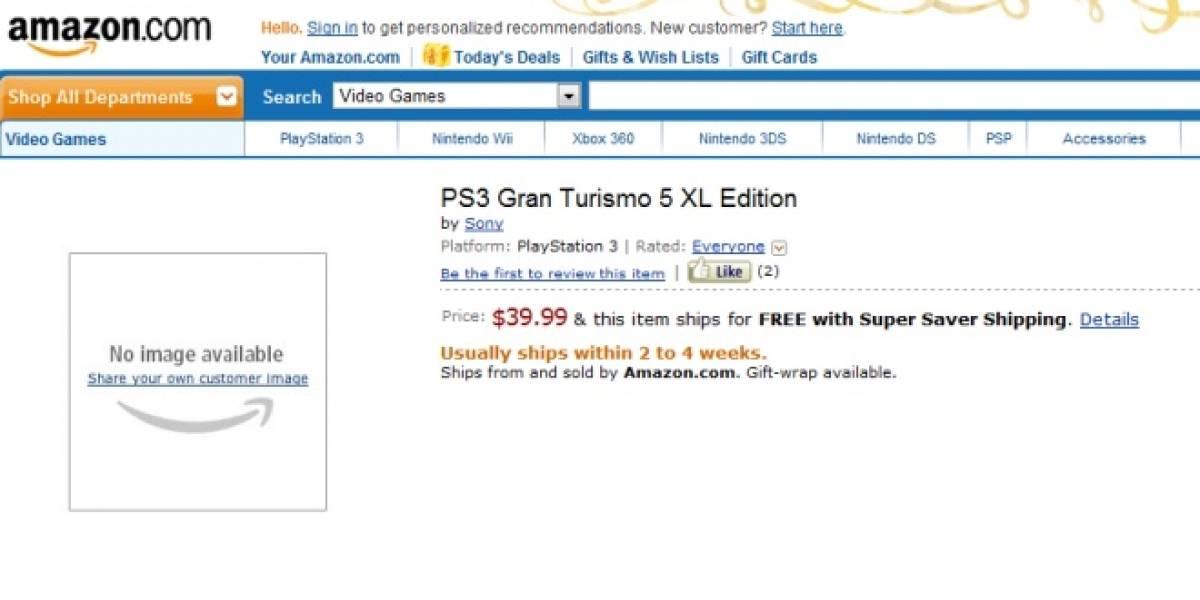 Gran Turismo 5 XL Edition aparece en Amazon