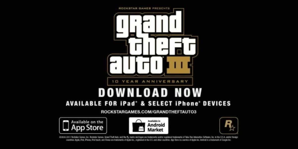 Grand Theft Auto III entra en el ranking de los más vendidos en la App Store y el Android Market