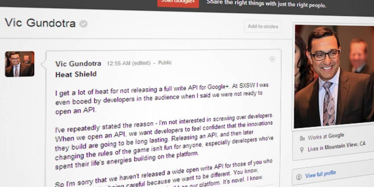 """Vic Gundotra de Google+: """"No estoy interesado en joder a los desarrolladores"""" (como Facebook)"""