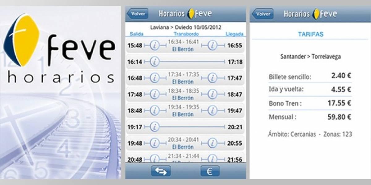 España: Horarios y precios de los trenes de Feve en tu móvil o tablet