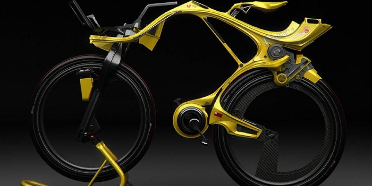 Esta bicicleta híbrida no tiene cadena ni rayos y parece un bicho