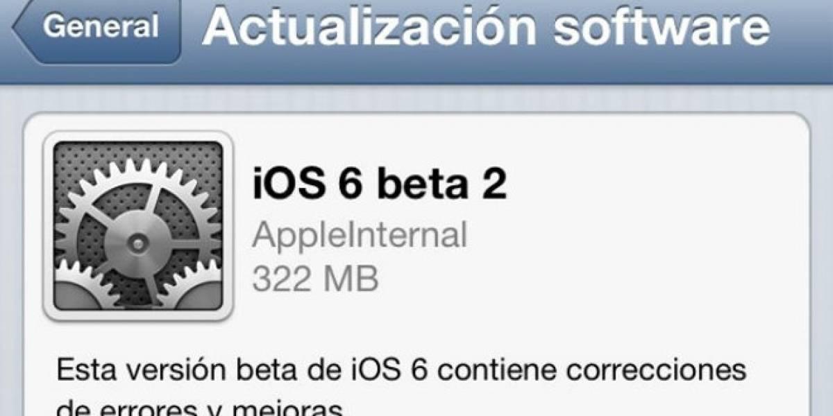 Apple lanza iOS 6 beta 2 con mejoras y corrección de errores