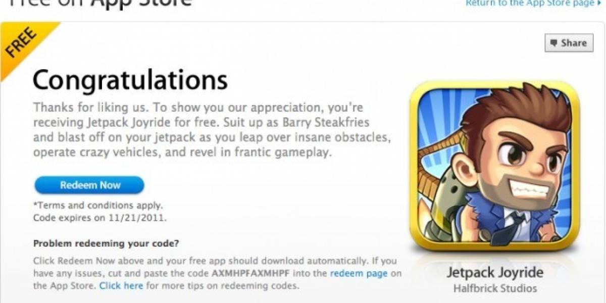 Jetpack Joyride gratis a través de la fanpage de la App Store