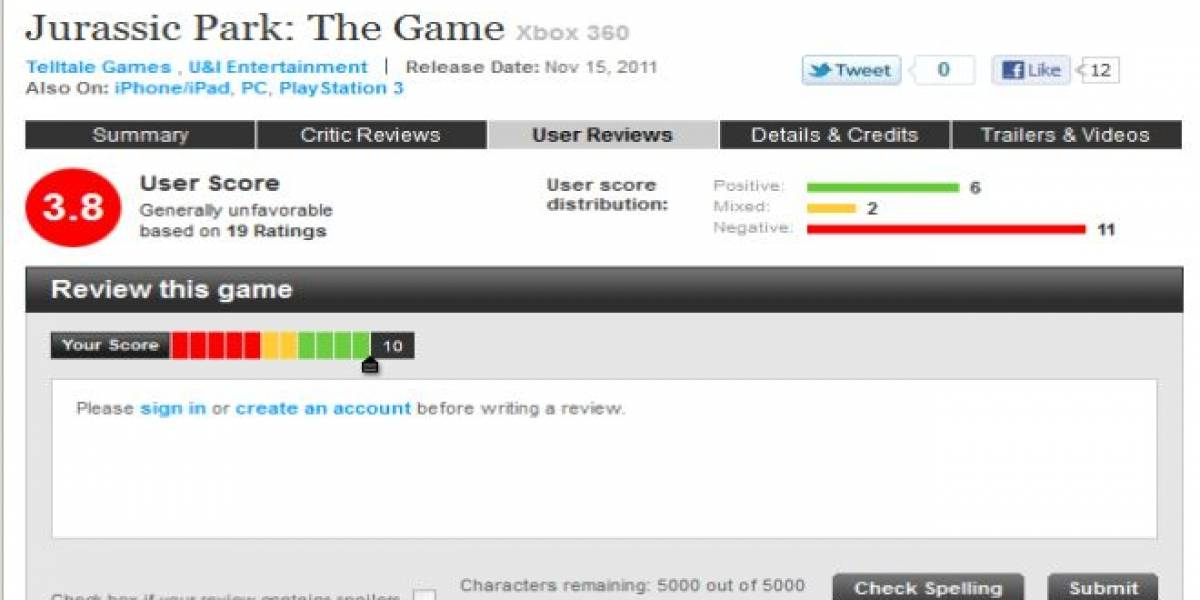 Empleados de Telltale Games le suben la nota a Jurassic Park: The Game en Metacritic