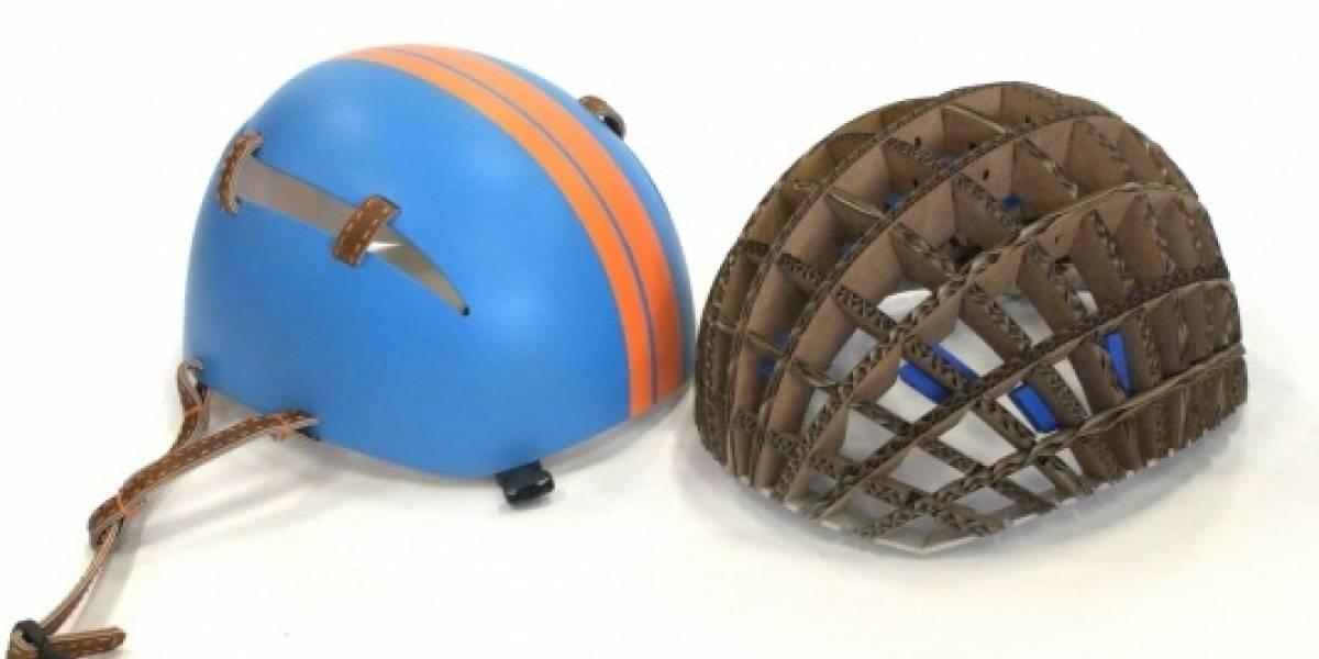 Nuevo casco de cartón es cuatro veces más seguro que su par de poliestireno