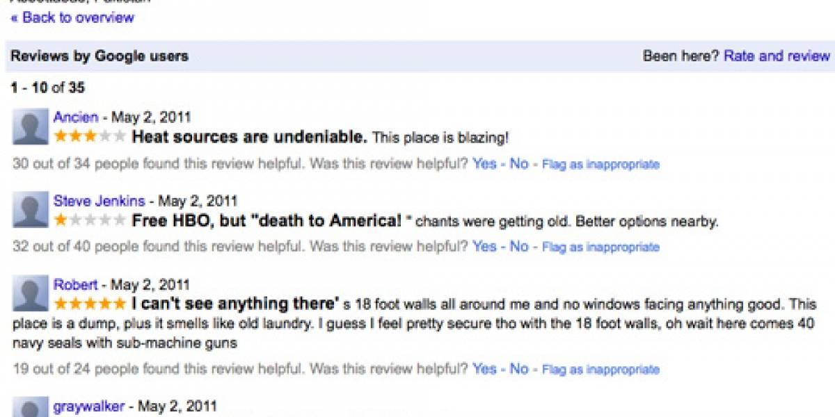Internautas hacen reviews del escondite de Bin Laden en Google Maps