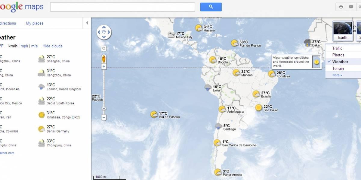 Google Maps ahora da el pronóstico del tiempo