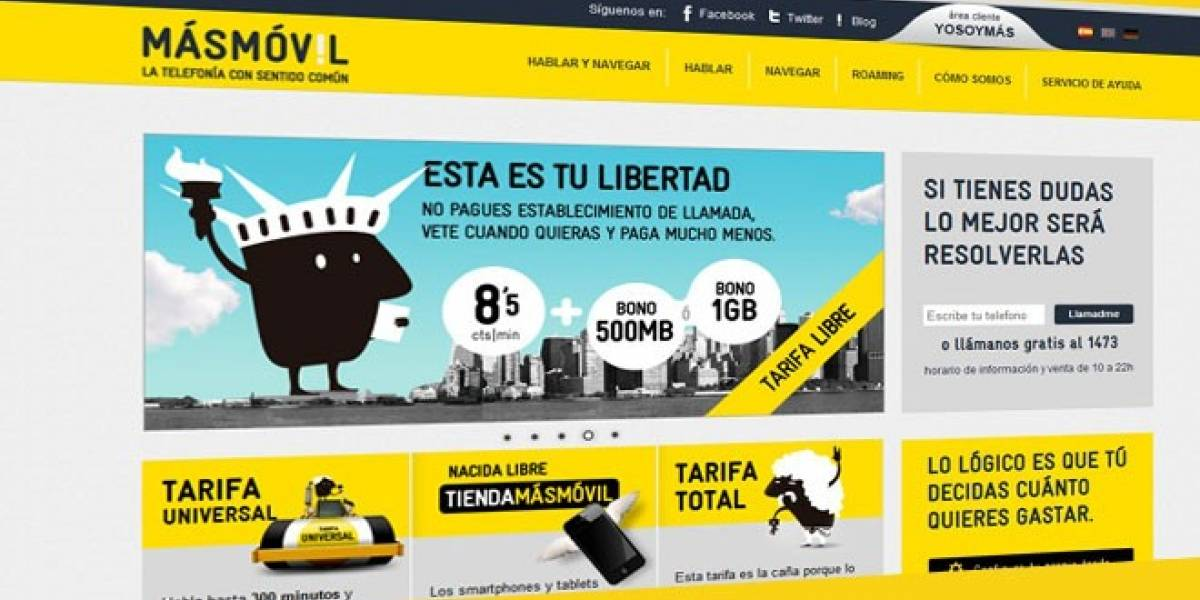 España: Masmóvil lanza tarifa plana con llamadas ilimitadas