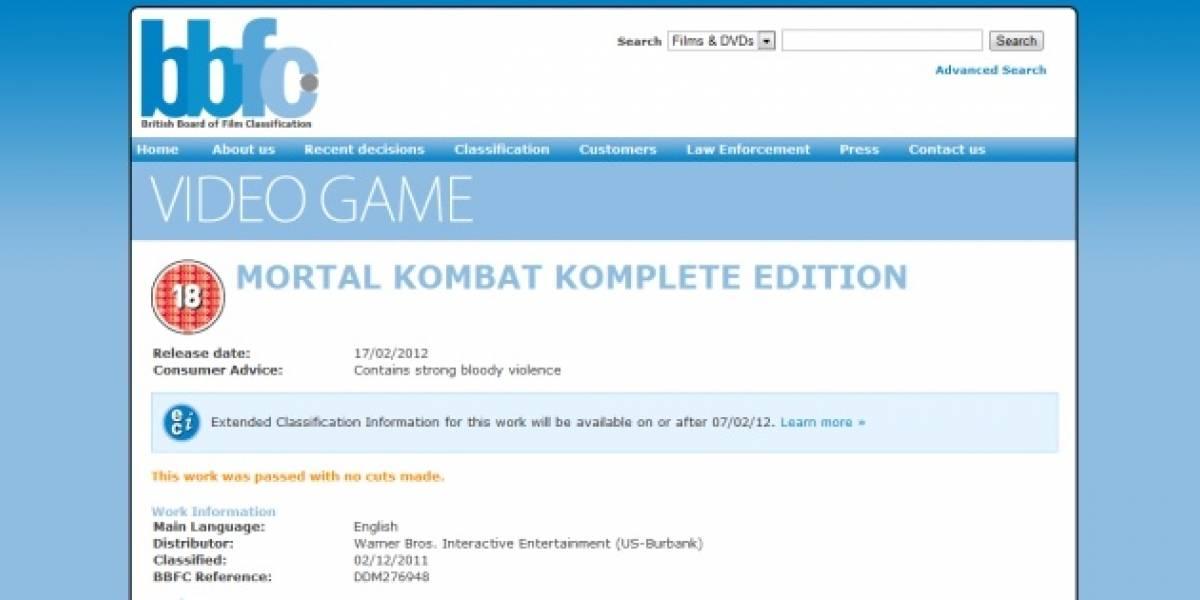 Futurología: se viene Mortal Kombat Komplete Edition