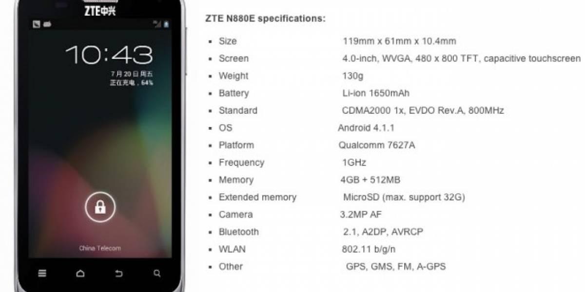 ZTE N880E: El primer smartphone del mundo con Android Jelly Bean de fábrica