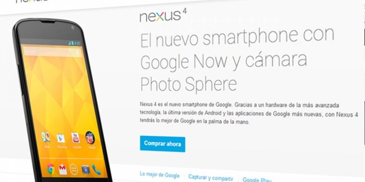 Google Play comienza a vender sus Nexus 4 y Nexus 10 en Europa