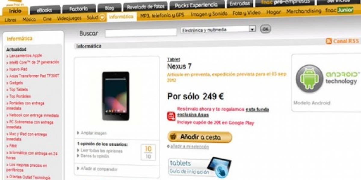 España: Nexus 7 de 16 GB ya está en preventa por 249 euros