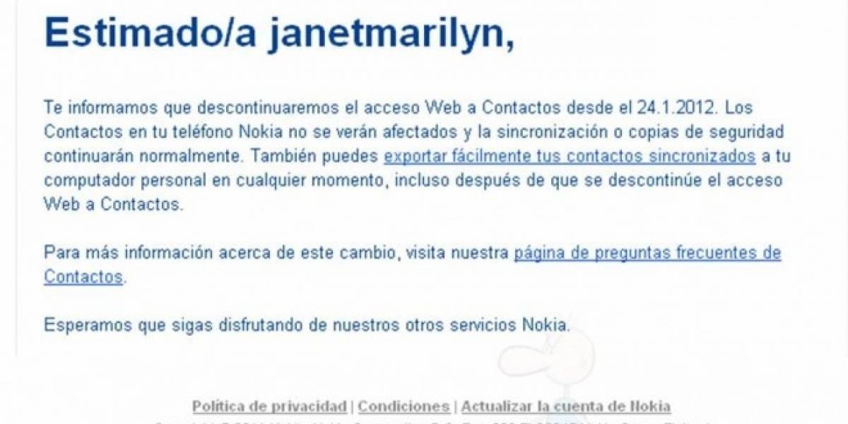 Nokia elimina el acceso Web a Contactos OVI