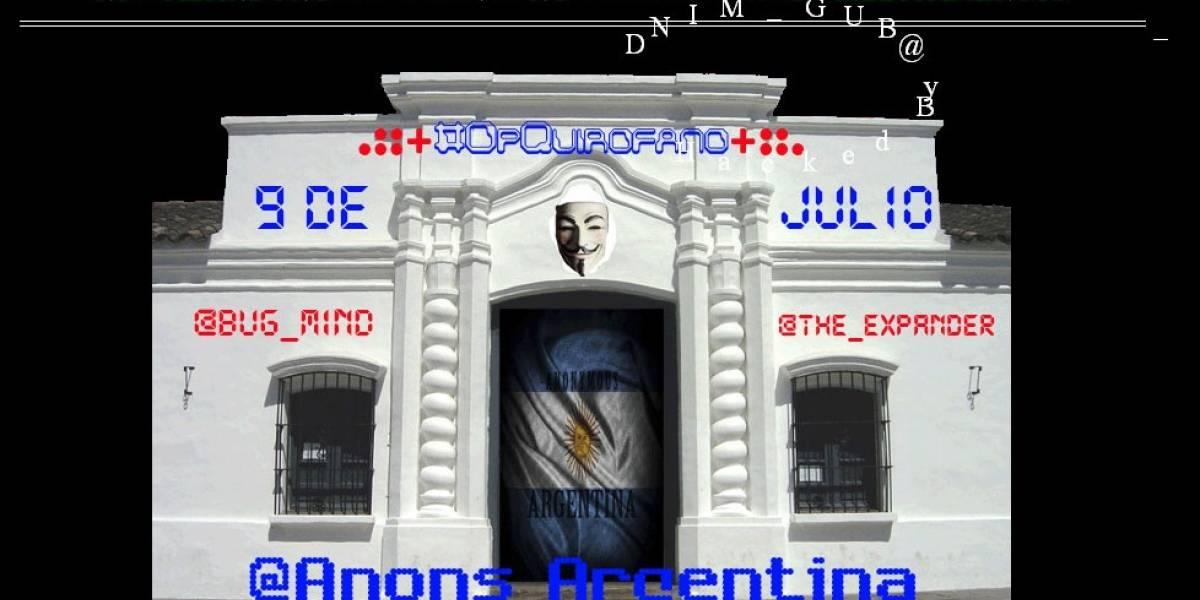 """Anonymous inició """"Operación Quirófano"""" contra sitios de organismos del estado en Argentina"""
