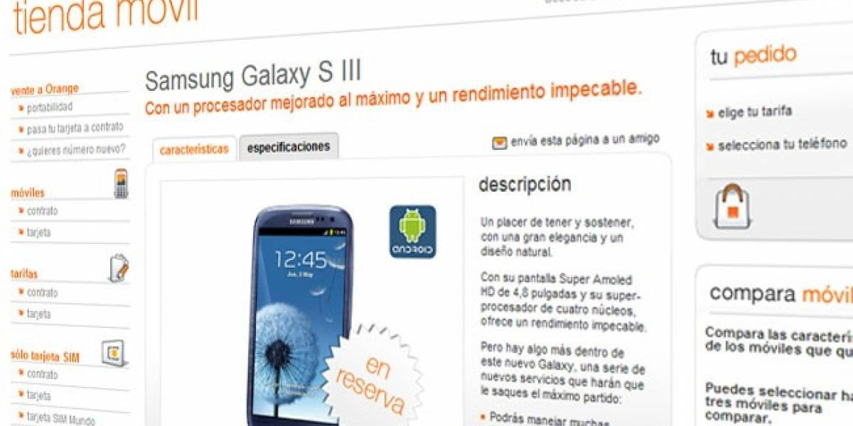 España: Orange ofrece el Samsung Galaxy S III