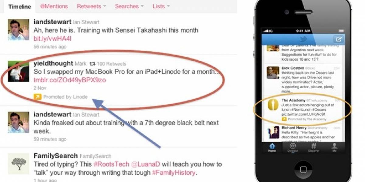 Tweets publicitarios comenzarán a aparecer en los móviles