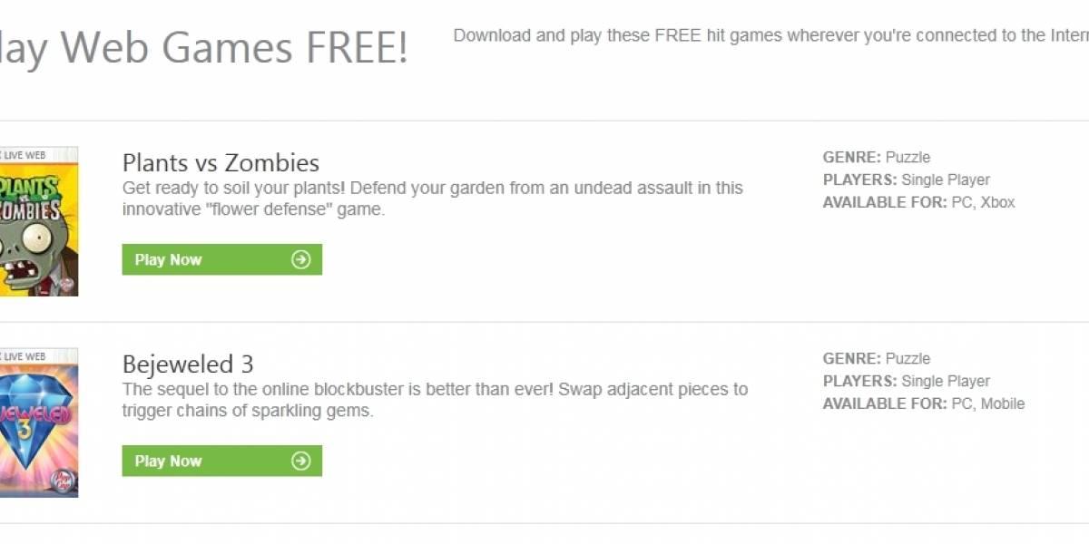 Cuatro juegos de PopCap se vuelven jugables gratuitamente a través de Xbox.com
