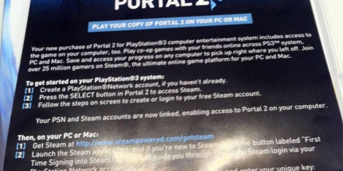 Portal 2 para PS3 trae un cupón para canjear una copia de PC en Steam