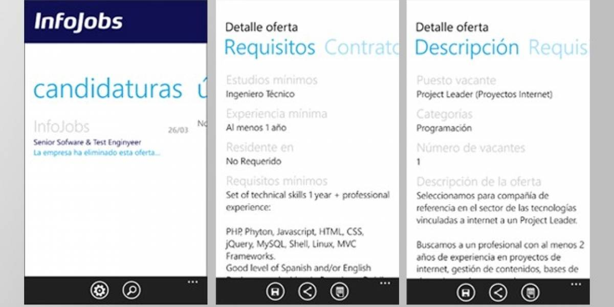 España: Infojobs ya tiene aplicación para Windows Phone
