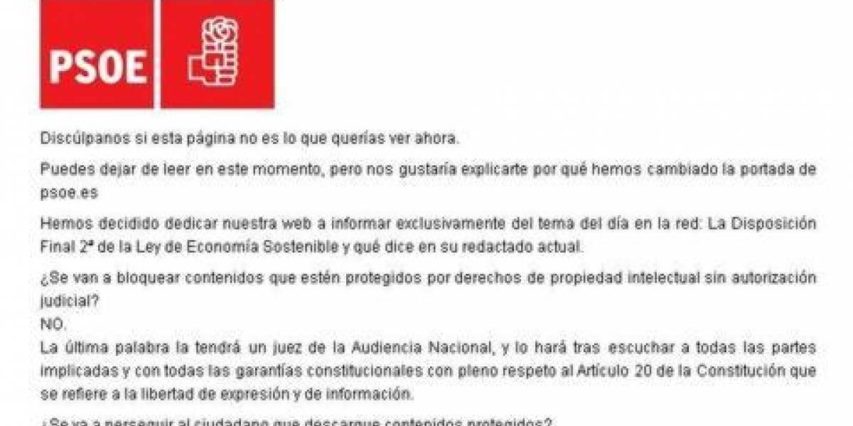"""España: El PSOE cambia la portada de su web por un comunicado justificando la """"Ley Sinde"""""""