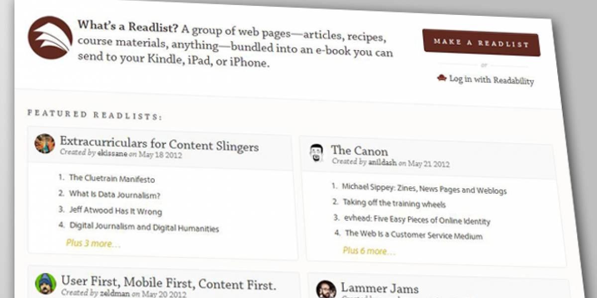 Readlist: Haz tu propio libro electrónico con páginas Web