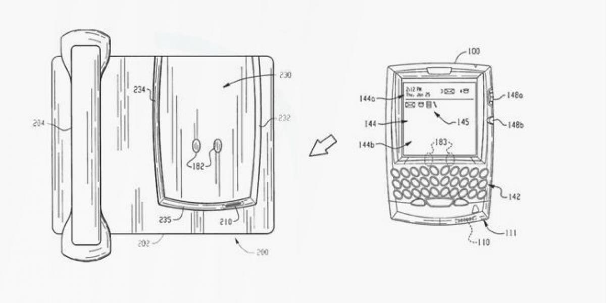 RIM patenta un dock con forma de teléfono de escritorio para tu BlackBerry