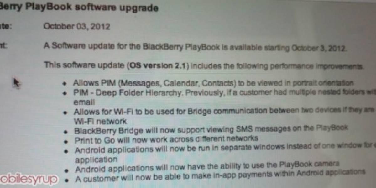 BlackBerry PlayBook OS en su versión 2.1 podría ser liberado este miércoles