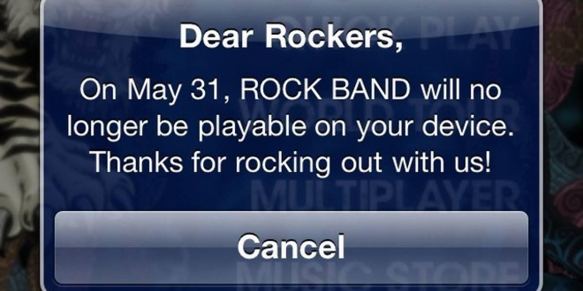 Rock Band para iOS se acaba el 31 de mayo, pero sigue a la venta como si nada