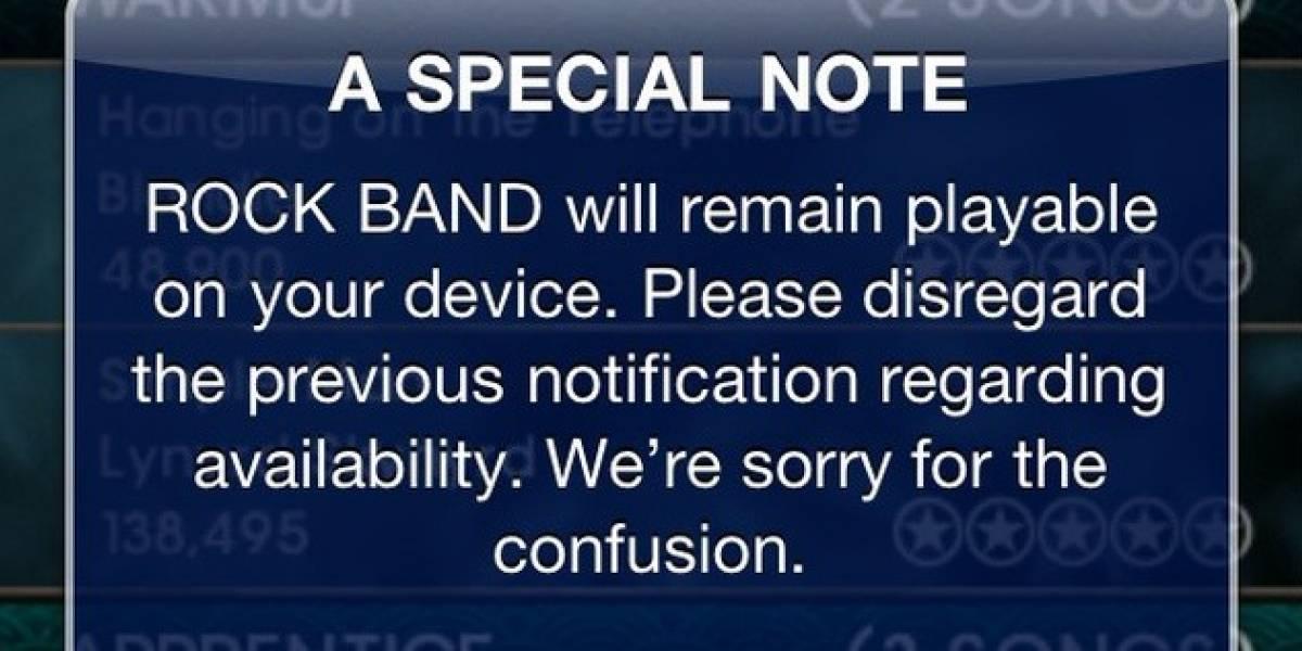 EA se retracta y Rock Band en iOS se podrá seguir jugando como si nada