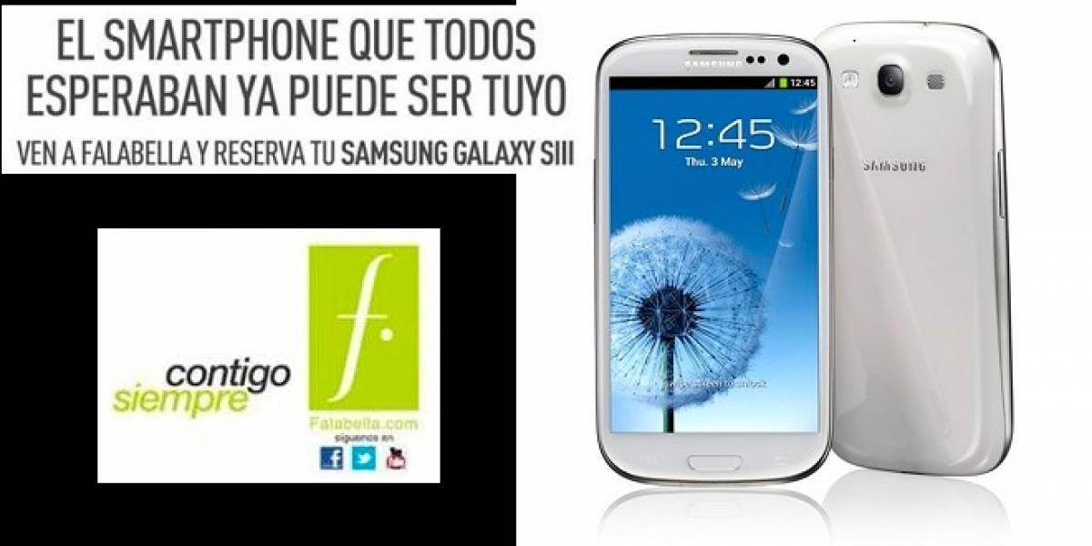 Chile: Precios y fecha de lanzamiento del Samsung Galaxy SIII en Falabella