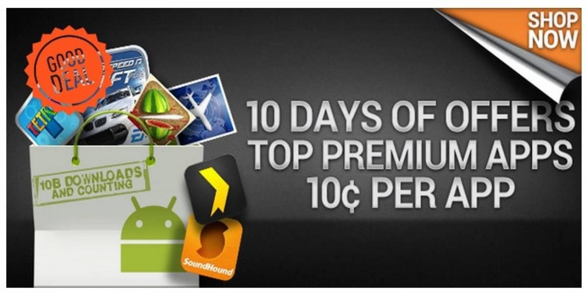 Android Market celebra las 10 mil millones de descargas con aplicaciones a sólo USD$ 0,10